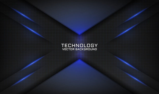 Abstracte zwarte technische achtergrond met blauw lichteffect