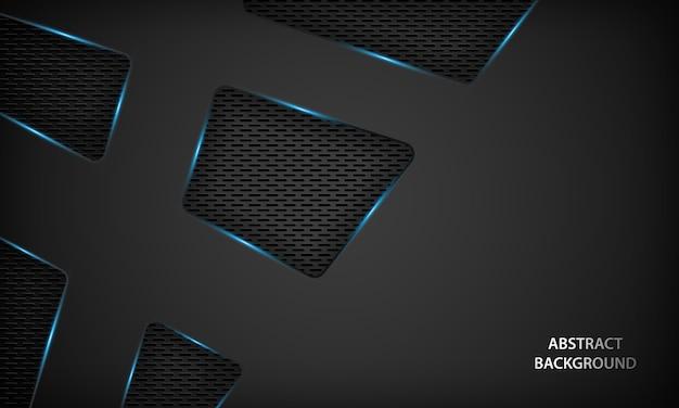 Abstracte zwarte technische achtergrond met blauwe metalen.