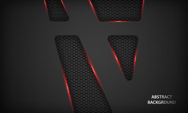 Abstracte zwarte technische achtergrond met rode metalen.