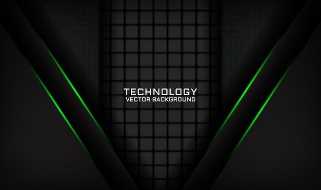 Abstracte zwarte technologie achtergrond overlappende laag met groen licht effect