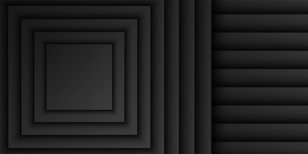 Abstracte zwarte vierkante overlap laag achtergrond vierkante vorm patroon donker minimaal ontwerp