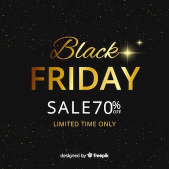 Abstracte zwarte vrijdag verkoop achtergrond met gouden tekst