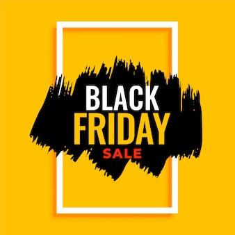Abstracte zwarte vrijdag verkoop banner op geel