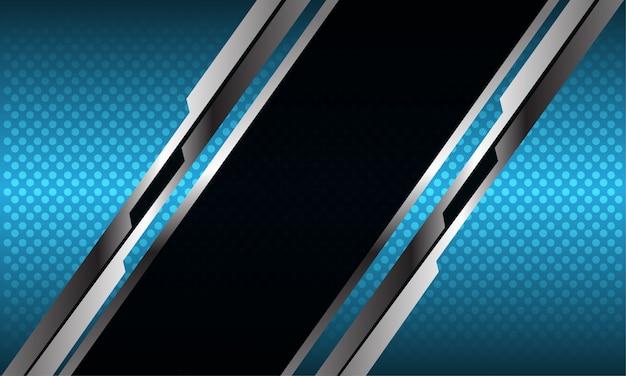 Abstracte zwarte zilveren lijn slash blauwe metalen cirkel mesh futuristische technische achtergrond.