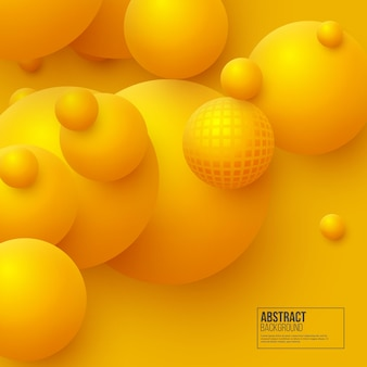 Abstracte zwevende bollen achtergrond. 3d gele ballen.