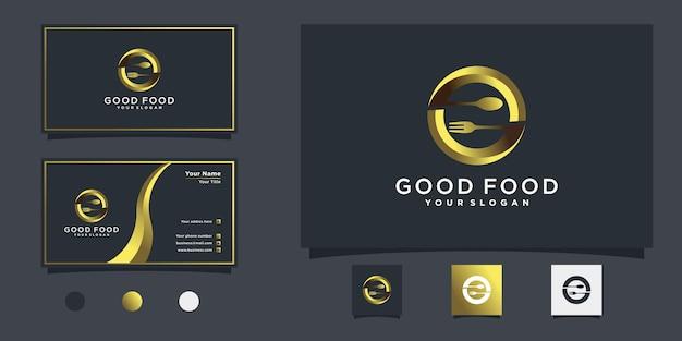 Abstrak food logo-ontwerp met letter g gouden gradiëntconcept voor restaurant, eten en drinken premium vector