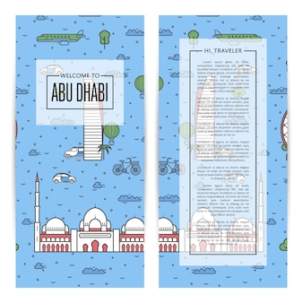 Abu dhabi reizende flyers in lineaire stijl