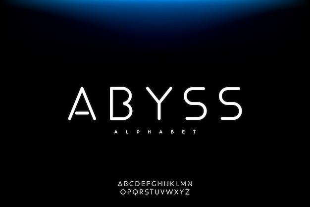 Abyss, een abstract futuristisch alfabetlettertype met technologiethema. modern minimalistisch typografieontwerp