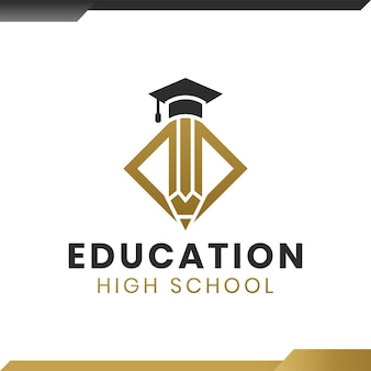 Academische afstudeerpet met potloodonderwijslogo voor school, universiteit, hogeschool, afgestudeerde