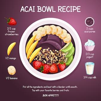 Acai bowl recept geïllustreerd