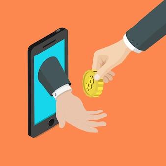 Acceptatie van de mobiele betaalmethode van bitcoin plat