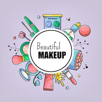Accessoires instellen mooie make-up kaart banner