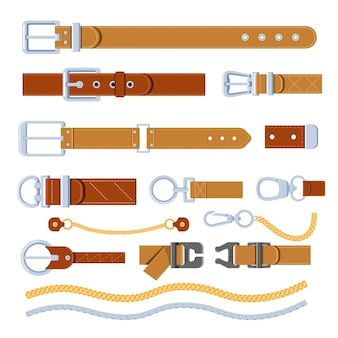 Accessoires meubels vintage riemen met gespen en kettingen. geïsoleerde oude retro-objecten die worden gebruikt voor het bevestigen van horloges en kleding. gespen en details voor kledingreparatiewerkplaats. vector in vlakke stijl