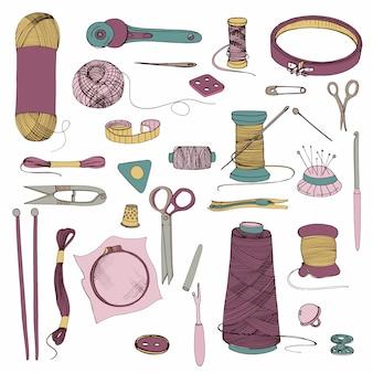 Accessoires voor breien en naaien. hand getrokken kleurrijke illustraties set.