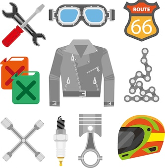 Accessoires voor motorracers en reserveonderdelen voor motorfietsen