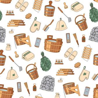 Accessoires voor sauna en badhuis. hand getekende naadloze patroon.