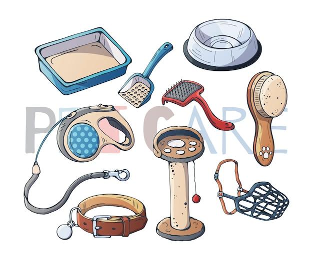 Accessoires voor zorgkatten en -honden. vector.