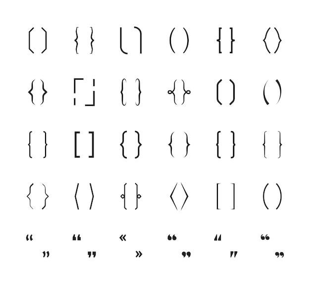 Accolades. haakjes school tekenen afdrukken haakjes vectorafbeeldingen symbolen. haakje tussen haakjes, grafisch type karakter illustratie