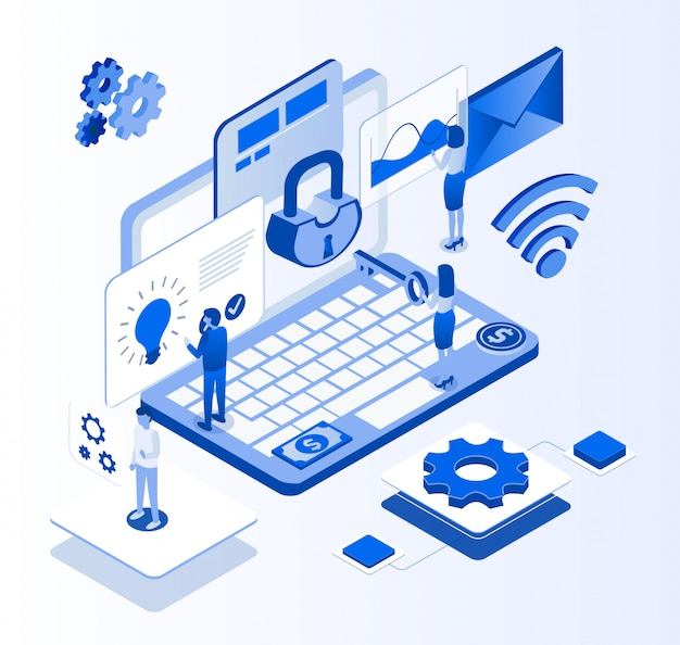 Account site creation process isometric banner