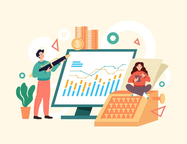 Accountant bedrijfsmensen die economieconcept raadplegen. eenvoudige moderne stijl grafisch ontwerp illusration
