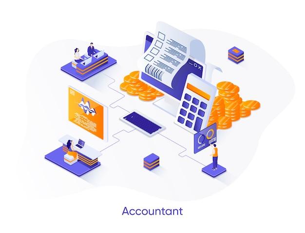 Accountant isometrische illustratie met karakters van mensen