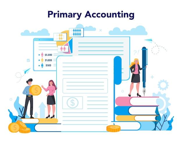 Accountant officemanager. professionele boekhouder. concept van de belastingberekening en financiële analyse. zakelijk karakter dat financiële operatie maakt.