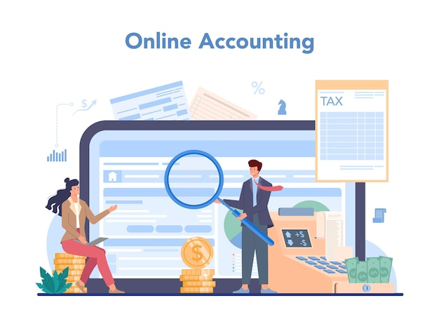 Accountant online service of platform. professionele boekhouder. concept van de belastingberekening en boekhouding. online boekhouden.