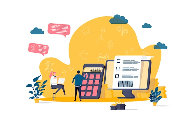 Accountant platte concept met personen personages illustratie