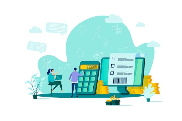 Accountantconcept in stijl met personenpersonages in situatie