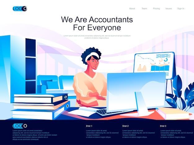 Accountants isometrische bestemmingspagina met vlakke karaktersituatie