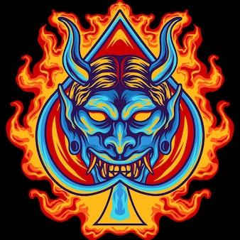 Ace oni-masker met vuur