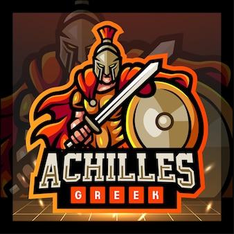 Achilles griekse mascotte esport logo ontwerp