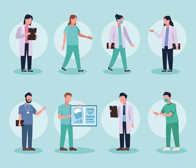 Acht artsen groep