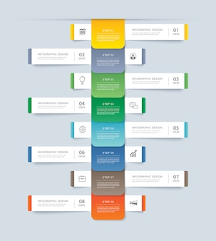 Acht gegevens stap infographics tijdlijn tabblad papier indexsjabloon.
