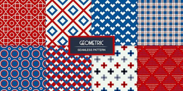 Acht geometrische naadloze transparante patronen ingesteld