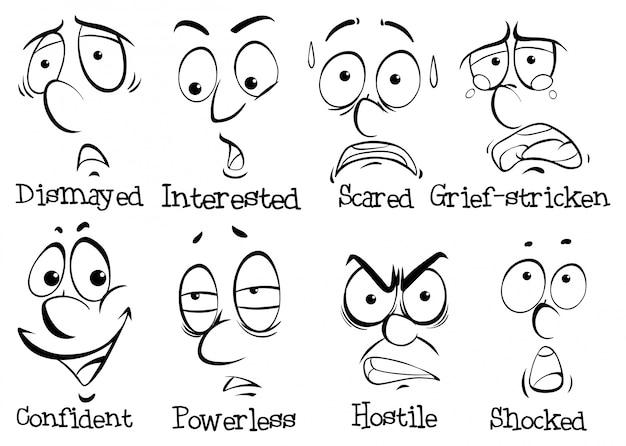 Acht gezichtsuitdrukkingen van de mens
