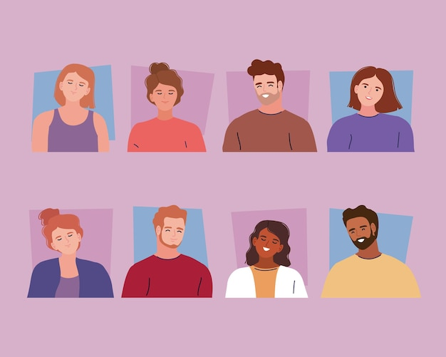 Acht jonge personen karakters