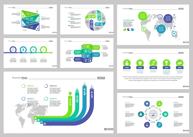 Acht logistics slide templates set