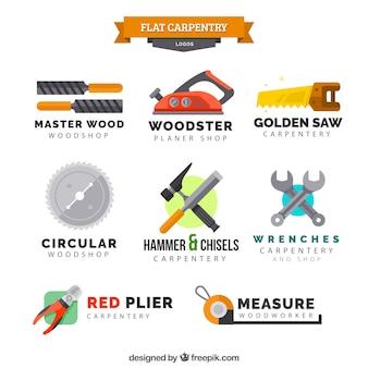 Acht logo's voor timmerwerk