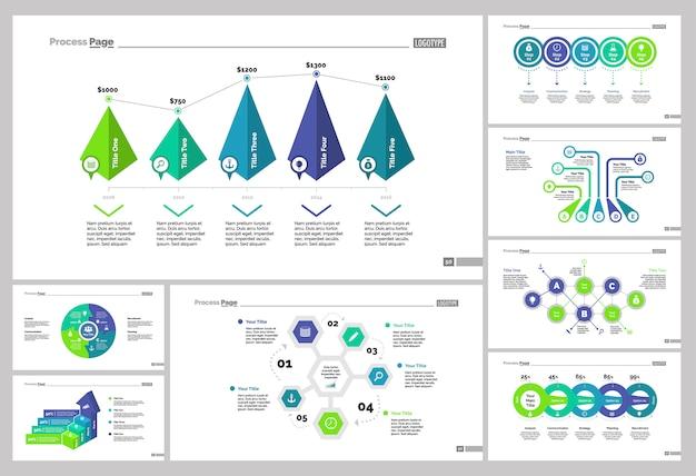 Acht marketing slide templates set