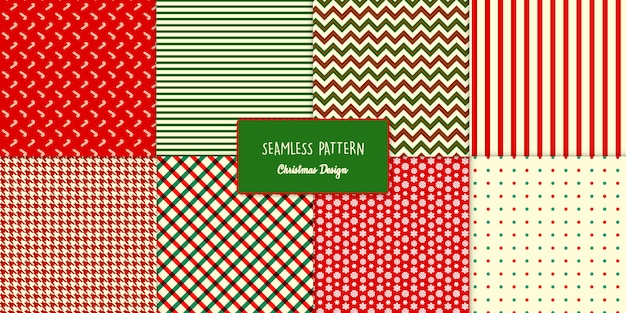 Acht naadloze klassieke kerstpatronen instellen