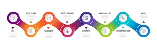 Acht niveaus tijdlijn infographic elementen voor zaken en corp