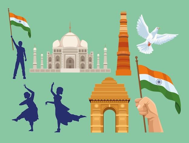 Acht onafhankelijkheid india pictogrammen