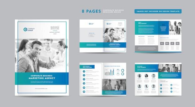 Acht pagina's business brochure design | jaarverslag en bedrijfsprofiel | boekje en catalogus ontwerpsjabloon
