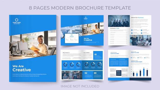 Acht pagina's zakelijke flyer zakelijke brochure sjabloon
