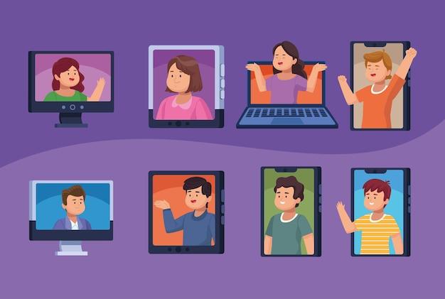 Acht personen in virtuele vergadering