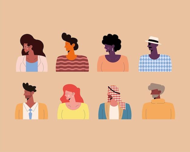 Acht personen van verschillende rassen karakters