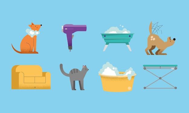 Acht pictogrammen voor het wassen van huisdieren