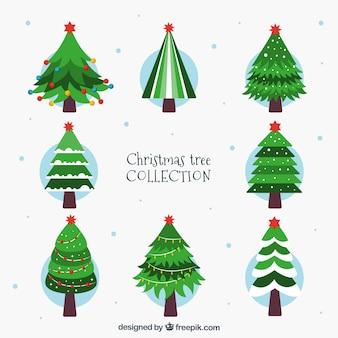 Acht prachtig versierde kerstbomen