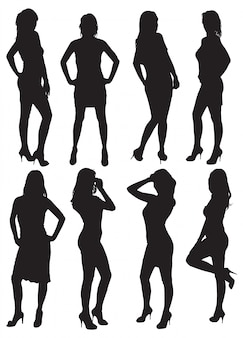 Acht silhouetten van mooie vrouwen